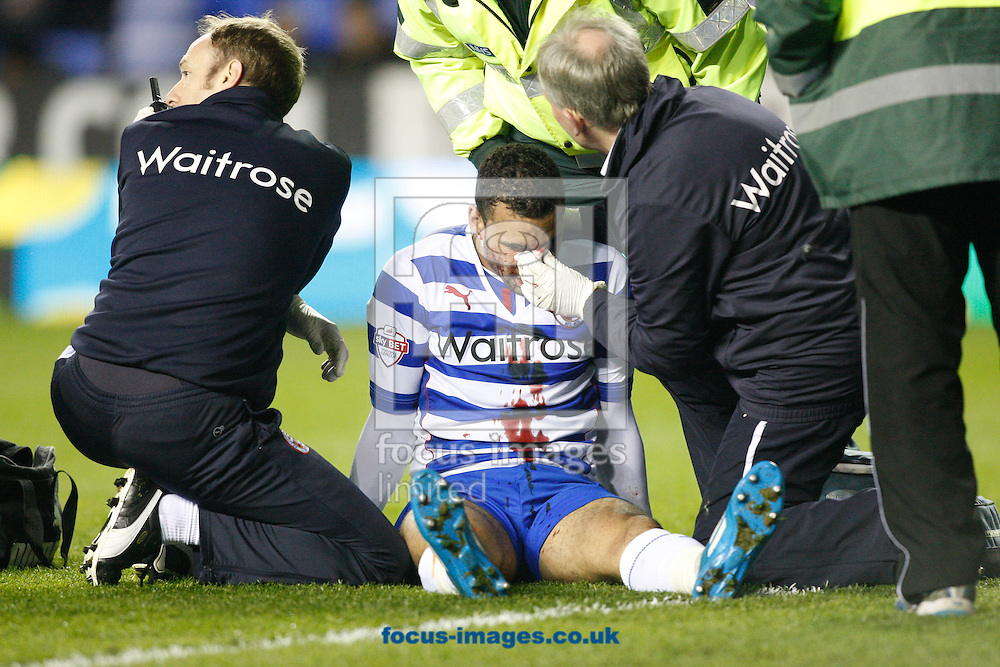 Hal Robson-Kanu of Reading is injured and substituted during the Sky Bet Championship match at the Madejski Stadium, Reading<br /> Picture by Andrew Tobin/Focus Images Ltd +44 7710 761829<br /> 22/04/2014