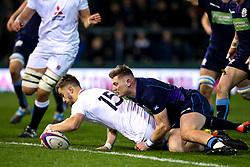 Tom de Glanville of England U20 scores a try - Mandatory by-line: Robbie Stephenson/JMP - 15/03/2019 - RUGBY - Franklin's Gardens - Northampton, England - England U20 v Scotland U20 - Six Nations U20