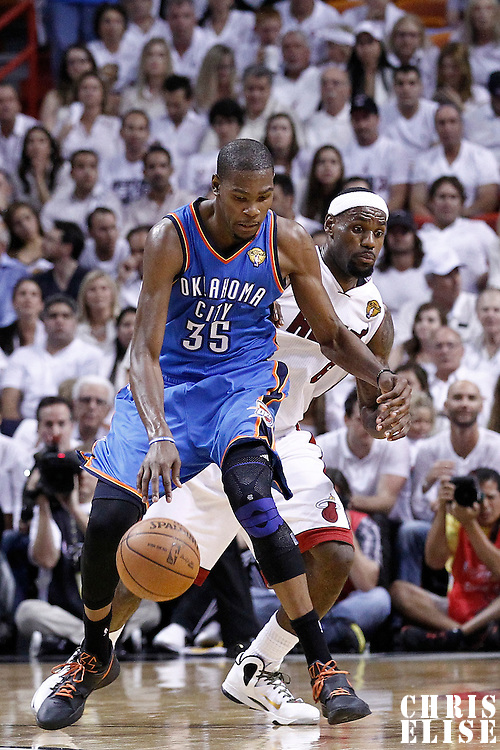 19 June 2012: Miami Heat small forward LeBron James (6) defends on Oklahoma City Thunder small forward Kevin Durant (35) during the third quarter of Game 4 of the 2012 NBA Finals, Thunder at Heat, at the AmericanAirlinesArena, Miami, Florida, USA.