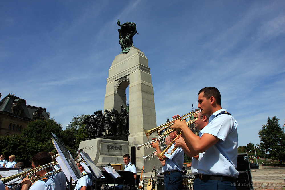 Winninpeg Air Command Show Band performs at the War Memorial in Ottawa, ON, Canada on August 08, 2009. Open air performance during day hours preceded the band's participation in the Massed Bands Beating Retreat and Concert on the Parliament Hill in Ottawa the same night. The band based at CFB Winnipeg in Winnipeg, MB, Canada.