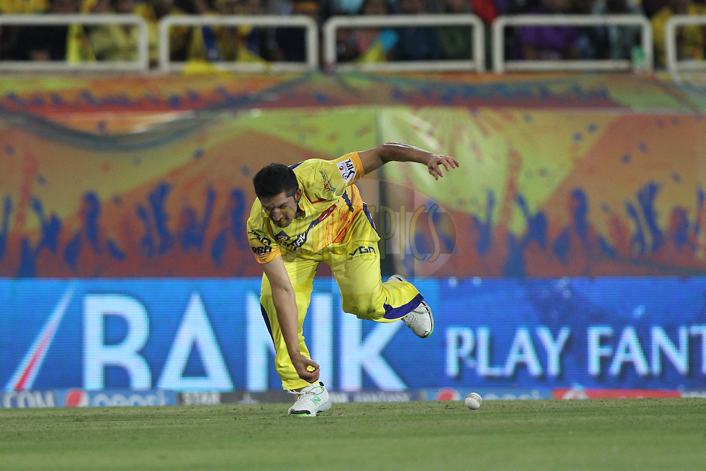 Mohit Sharma of The Chennai Superkings during match 21 of the Pepsi Indian Premier League Season 2014 between the Chennai Superkings and the Kolkata Knight Riders  held at the JSCA International Cricket Stadium, Ranch, India on the 2nd May  2014<br /> <br /> Photo by Deepak Malik / IPL / SPORTZPICS<br /> <br /> <br /> <br /> Image use subject to terms and conditions which can be found here:  http://sportzpics.photoshelter.com/gallery/Pepsi-IPL-Image-terms-and-conditions/G00004VW1IVJ.gB0/C0000TScjhBM6ikg
