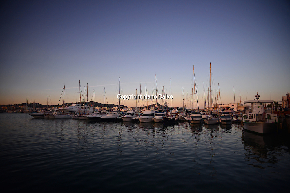 Sunset in Port of Ibiza, Balearic Islands, Spain