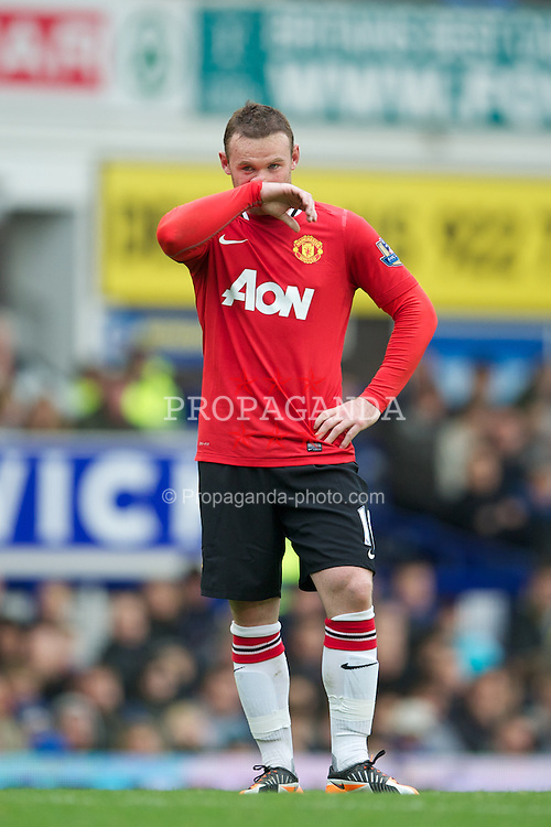 LIVERPOOL, ENGLAND - Saturday, October 29, 2011: Manchester United's Wayne Rooney in action against Everton during the Premiership match at Goodison Park. (Pic by David Rawcliffe/Propaganda)