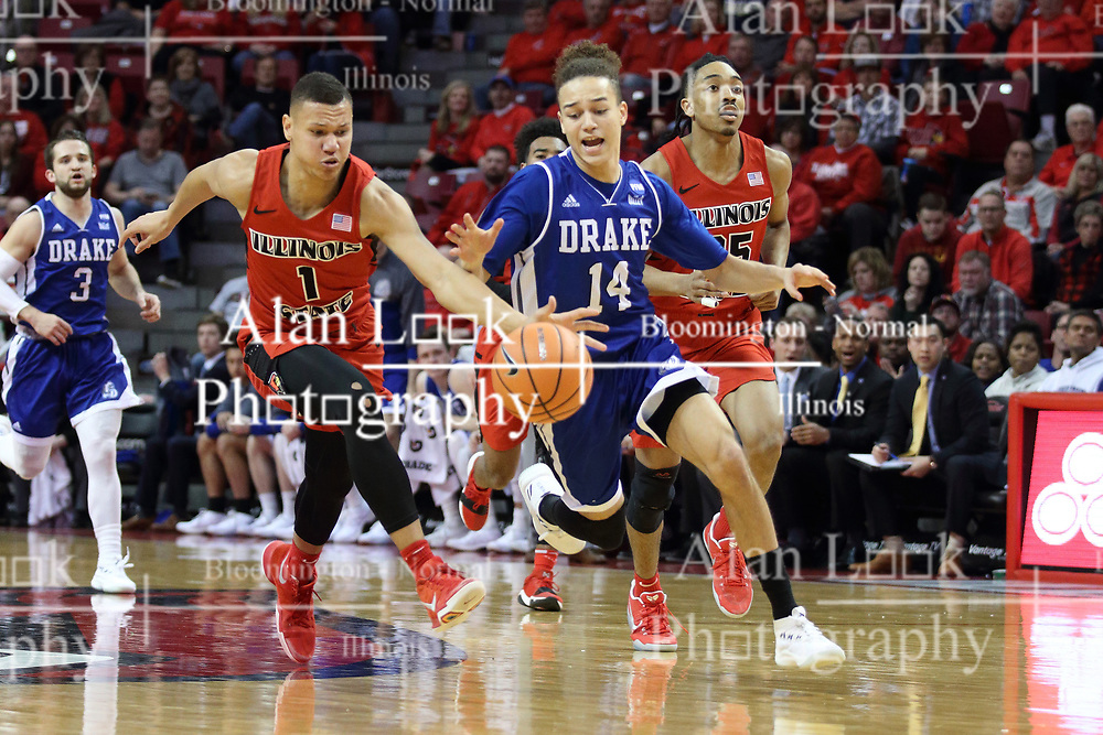 21 February 2018:  Elijah Clarance and Noah Thomas go for a loose ball during a College mens basketball game between the Drake Bulldogs and Illinois State Redbirds in Redbird Arena, Normal IL
