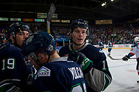 KELOWNA, CANADA - APRIL 25: Tyler Adams #17 of the Seattle Thunderbirds beaks the Kelowna Rockets' bench on April 25, 2017 at Prospera Place in Kelowna, British Columbia, Canada.  (Photo by Marissa Baecker/Shoot the Breeze)  *** Local Caption ***