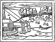 Using astrolabes to calculate the height of a steeple. From Peter Apian 'Cosmographia', Antwerp, 1539. Woodcut