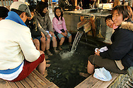 Foot baths are all the rage in Japan, often in front of railway stations in hot spring towns such as Kusatsu,  to give tired travelers a rest from their arduous sightseeing schedules.