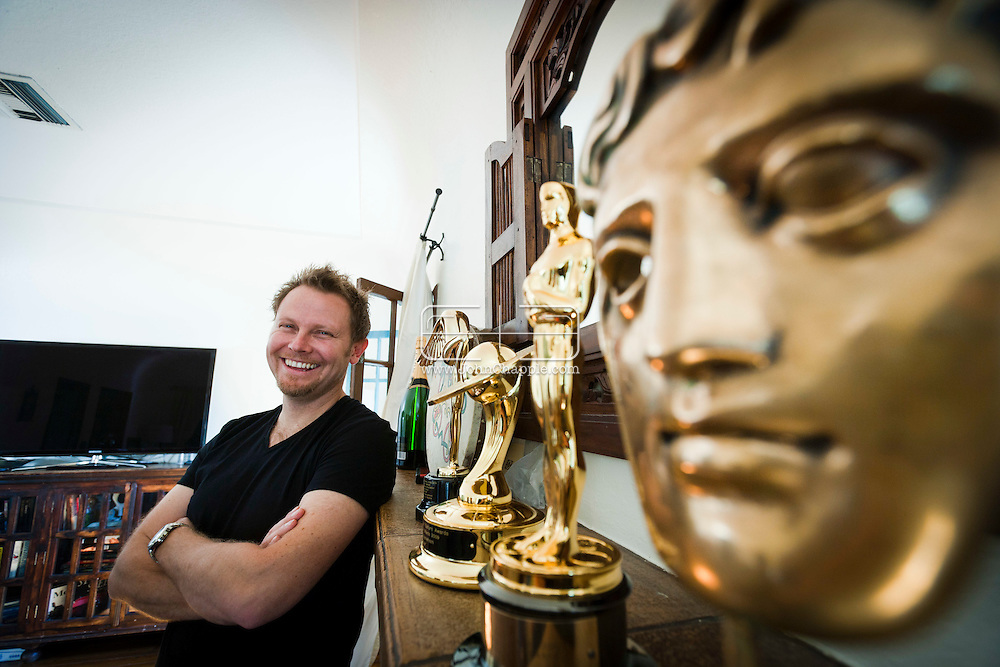 11th February 2011. Glendale, California.  Dubliner Richie Baneham, won the Oscar for Best Visual Effects in 2010 for his work on the groundbreaking 3D science fiction film Avatar. Richie's awards (L-R) Lumiere Award, The Saturn Award, an Oscar and a BAFTA award..Photo © John Chapple / www.johnchapple.com..
