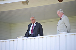 Left to right, URS SCHWARZENBACH and COL.PAUL BELCHER former chairman of Guards Polo Club at Al Habtoor Royal Windsor Cup Final 2012 at Guards Polo Club, Berkshire on 24th June 2012.