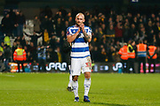 Queens Park Rangers defender Toni Leistner (37) applauds the Queens Park Rangers fans after The FA Cup 5th round match between Queens Park Rangers and Watford at the Loftus Road Stadium, London, England on 15 February 2019.
