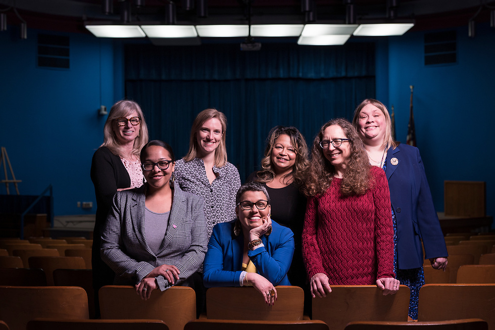 Madison Metropolitan School Board members, left to right, Mary Burke, Ali Muldrow, Kate Toews, Ananda Mirilli, Nicki Vander Meulen, Cristiana Carusi, and Gloria Reyes pose for a portrait at the Doyle Administration building in Madison, WI on Monday, April 22, 2019.