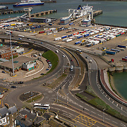 The Port of Dover on the Kent coast on a busy sunny summers day