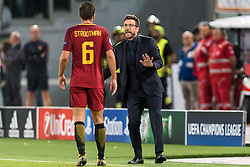 (L-R) Kevin Strootman of AS Roma, coach Eusebio Di Francesco of AS Roma during the UEFA Champions League group C match match between AS Roma and Atletico Madrid on September 12, 2017 at the Stadio Olimpico in Rome, Italy.