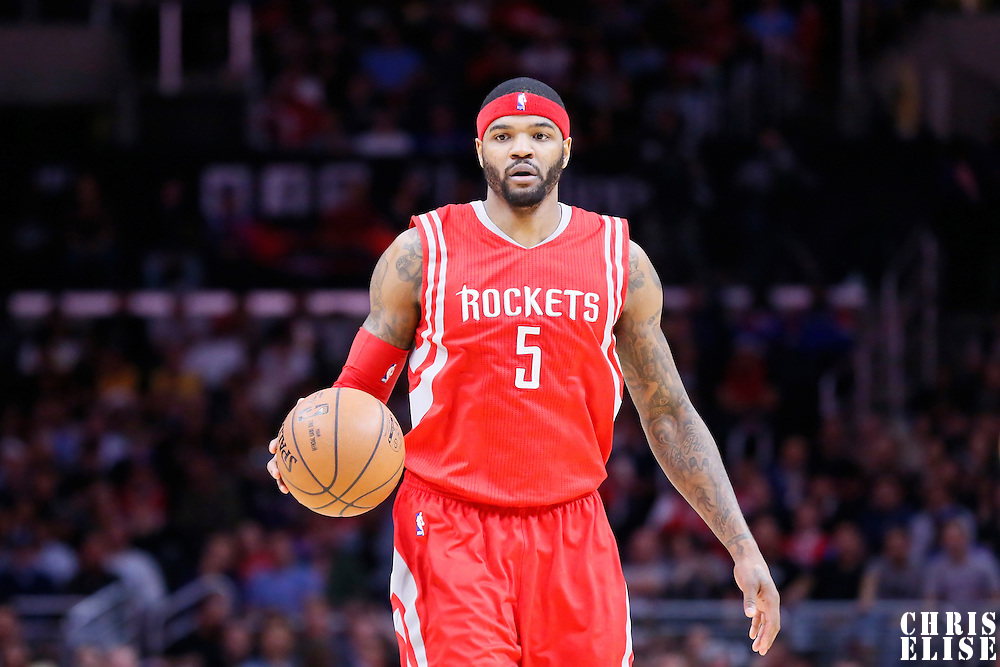 11 February 2015: Houston Rockets forward Josh Smith (5) brings the ball up court during the Los Angeles Clippers 110-95 victory over the Houston Rockets, at the Staples Center, Los Angeles, California, USA.