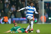 Queens Park Rangers midfielder Eberechi Eze (10) resists a challenge from Sheffield Wednesday midfielder Joey Pelupessy (8) during the The FA Cup match between Queens Park Rangers and Sheffield Wednesday at the Kiyan Prince Foundation Stadium, London, England on 24 January 2020.