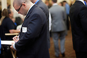 Christopher Halmbacher takes notes during the career and internship fair at Ohio University in Athens, Ohio on Tuesday, September 24, 2013. Photo by Chris Franz