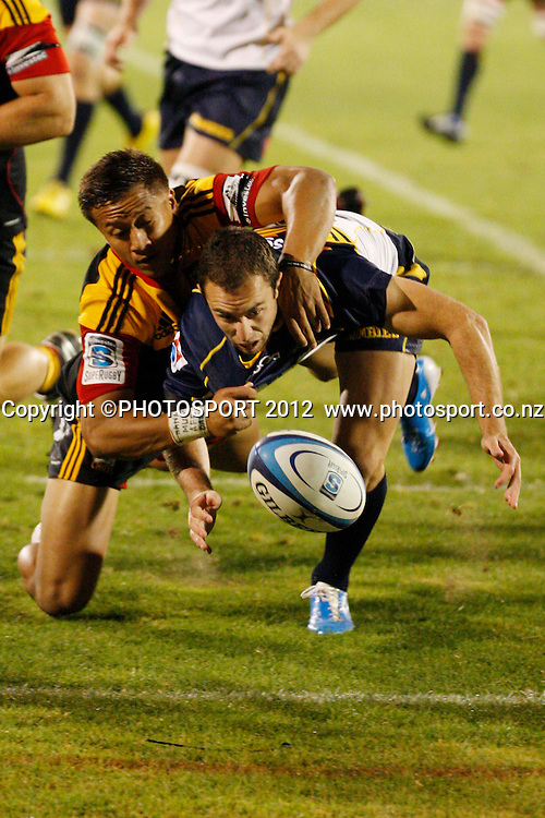 Tim Nanai-Williams and Ian Prior in action during their game at Baypark Stadium, Mt Maunganui, New Zealand. Friday,16 March 2012. Photo: Dion Mellow/photosport.co.nz