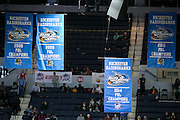 The 2014 PBL Champions banner is lifted at the Razorsharks opener at the Blue Cross Arena on Saturday, December 6, 2014.