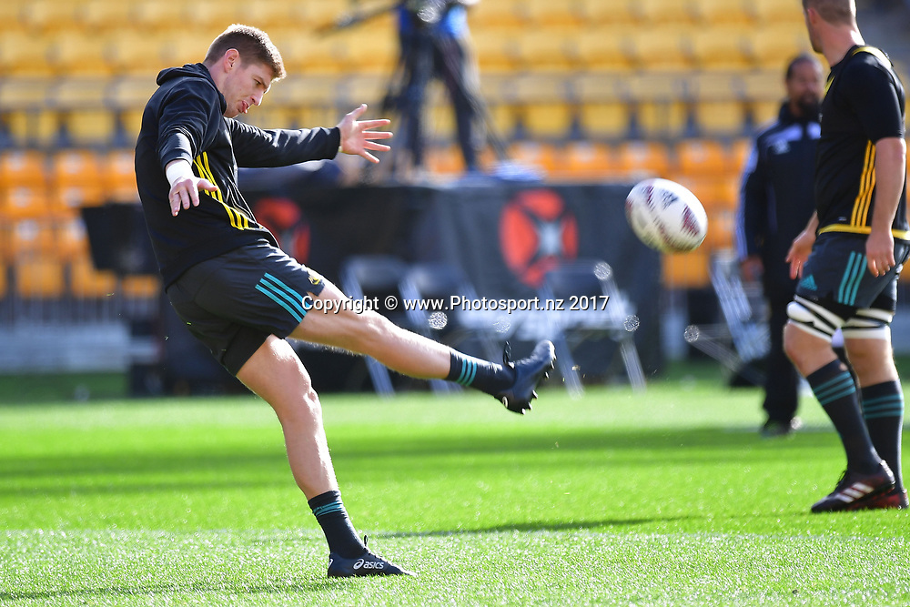 Hurricanes Jordie Barrett kicks the ball during the Hurricanes captains run at Westpac Stadium in Wellington on Friday the 26th of June 2017. Copyright Photo by Marty Melville / www.Photosport.nz