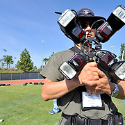 4/27/12  --- SPORTS SHOOTER ACADEMY --- SSA instructor Myung J. Chun holds a Lightware FourSquare before the start of a high-shutter speed strobe shoot during Sports Shooter Academy IX. Photo by Reggie Ferraz, Sports Shooter Academy