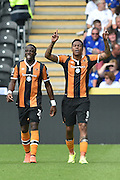 Hull City Striker Adama Diomande (20) and Hull City striker Abel Hernandez (9) celebrates scoring goal to go 1-0 up  during the Premier League match between Hull City and Leicester City at the KCOM Stadium, Kingston upon Hull, England on 13 August 2016. Photo by Ian Lyall.