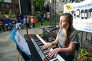 Sinead McArdle, 15 of Buckingham, Pennsylvania performs during the start of Doylestown Art Days at the Doylestown Historical Society Thursday June 4, 2015 in Doylestown, Pennsylvania.  (Photo by William Thomas Cain/Cain Images)