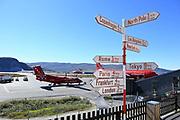Distance signpost at Kangerlussuaq airport, Greenland