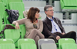 Franjo Bobinac with his wife during handball match between Women National Teams of Slovenia and Czech Republic of 4th Round of EURO 2012 Qualifications, on March 25, 2012, in Arena Stozice, Ljubljana, Slovenia. (Photo by Vid Ponikvar / Sportida.com)