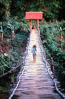 walking a footbridge, Mexico