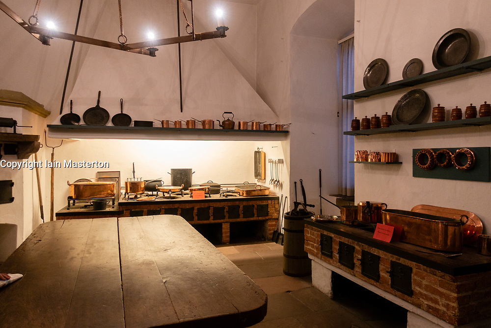 Original kitchen inside The Celle Palace or Celle Castle in Celle, Lowery Saxony, Germany