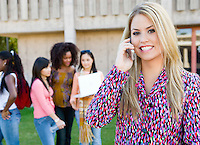 Student Talking on Cell Phone on Campus