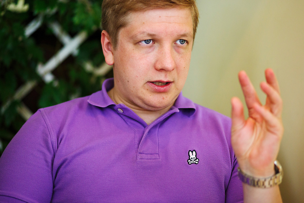 Andriy Kobolev, CEO and Chairman of Naftogaz, meets with a journalist from Die Zeit at La Veranda restaurant on May 30, 2015 in Kyiv, Ukraine.