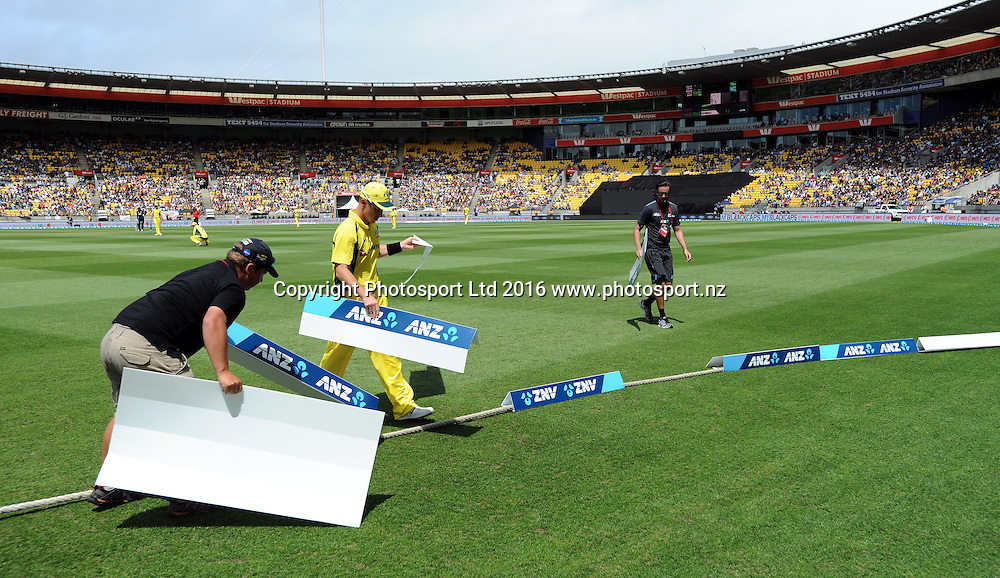 Australia'a Adam Zampa helps with advertising blowing in the wind in the 2nd match of the Chappell-Hadlee ODI series, New Zealand vs Australia, Westpac Stadium, Wellington, Saturday, February, 06, 2016. Copyright photo: Kerry Marshall / www.photosport.nz
