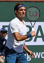 March 15, 2019 - Indian Wells, CA, U.S. - INDIAN WELLS, CA - MARCH 15: Roger Federer (SUI) on the court in the second set of a quarterfinals match played during the BNP Paribas Open on March 15, 2019 at the Indian Wells Tennis Garden in Indian Wells, CA. (Photo by John Cordes/Icon Sportswire) (Credit Image: © John Cordes/Icon SMI via ZUMA Press)