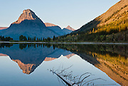 "Sinopah Mountain (8271 feet or 2521 meters) reflects in Pray Lake at sunrise, in Glacier National Park, Montana, USA. Since 1932, Canada and USA have shared Waterton-Glacier International Peace Park, which UNESCO declared a World Heritage Site (1995) containing two Biosphere Reserves (1976). Rocks in the park are primarily sedimentary layers deposited in shallow seas over 1.6 billion to 800 million years ago. During the tectonic formation of the Rocky Mountains 170 million years ago, the Lewis Overthrust displaced these old rocks over newer Cretaceous age rocks. Glaciers carved spectacular U-shaped valleys and pyramidal peaks as recently as the Last Glacial Maximum (the last ""Ice Age"" 25,000 to 13,000 years ago). Of the 150 glaciers existing in the mid 1800s, only 25 active glaciers remain in the park as of 2010, and all may disappear by 2020, say climate scientists."
