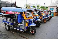 Tuk tuk motor bikes, public transportation taxis, Bangkok, Thailand