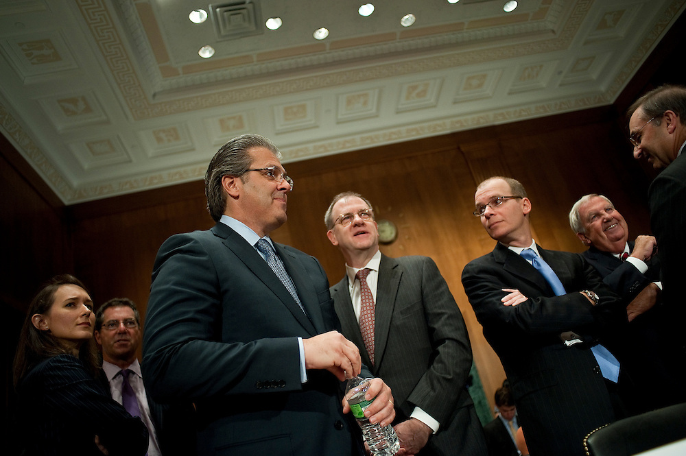 """May 5,2010 - Washington, District of Columbia USA - Former Bear Steans executives Paul Friedman, former senior managing director, Samuel Molinaro Jr., former CFO and chief operating officer, and Warren Spector, former president and co-chief operating officer, appear before the Financial Crisis Inquiry Commission (FCIC) public hearing titled """"The Shadow Banking System"""" - the system of bank-like financial institutions and markets operating outside of the regulatory structure for traditional banking activities. ..The bi-partisan 10-member Financial Crisis Inquiry Commission was created by Congress and is charged with examining the causes of the financial meltdown. It is also examining causes of the collapse of major financial institutions that failed or would likely have failed had they not received exceptional government assistance...Findings and conclusions are to be presented in a formal report to Congress and the President by December 15, 2010. .(Credit Image: © Pete Marovich/ZUMA Press)"""