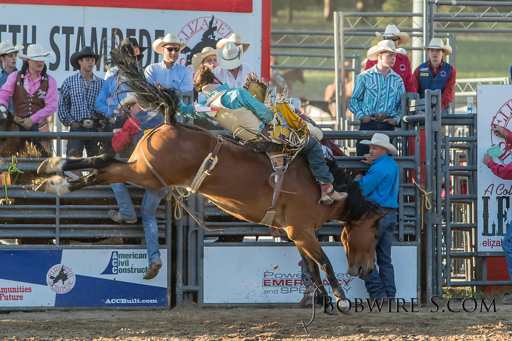 Bareback bronc rider Dylan Wahlert rides Summit Pro Rodeo's Angel's Pride in the second performance of the Elizabeth Stampede on Saturday, June 2, 2018.