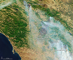 "October 9, 2017 - Santa Rose, California, U.S. - Parts of northern California have been ravaged by intense and fast-burning wildfires that broke out on October 8, 2017. Blazes that started on a few hundred acres around Napa Valley were fanned by strong northeasterly winds, and by October 10, the 14 fires had consumed as much as 100,000 acres (150 square miles) of land. States of emergency have been declared in Napa, Sonoma, Yuba, and Mendocino counties, and thousands of people were asked to evacuate. The densely populated ""wine country"" is famous for its vineyards and wine-making operations and the tourists they attract. In the late morning of October 9, the Moderate Resolution Imaging Spectroradiometer (MODIS) on NASA's Terra satellite acquired a natural-color image (top) of the smoke billowing from the fires. About two hours later, the MODIS instrument on NASA's Aqua satellite captured the second view. (Credit Image: © NASA Earth/ZUMA Wire/ZUMAPRESS.com)"