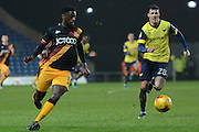 Bradford City striker Jordy Hiwula (11) on the attack 2-0 during the EFL Trophy match between Oxford United and Bradford City at the Kassam Stadium, Oxford, England on 31 January 2017. Photo by Alan Franklin.