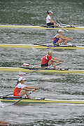 Lucerne SWITZERLAND,  W1X. Start of the first semi-final women's single sculls,  top down GER W1X. Carina BAER, RUS W1X, Julia LEVINA, BLR W1X, Ekaterina KARSTEN, CHN W1X, Xiuyun ZHANG, SWE W1X, Frida SVENSSON, at the   2011 FISA World Cup on the Lake Rotsee.  15:36:23  Saturday   09/07/2011   [Mandatory Credit Peter Spurrier/ Intersport Images]