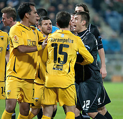 14.12.2011, UPC Arena, Graz, AUT, UEFA Europa League , Sturm Graz vs AEK Athen FC, im Bild Tumult zwischen Milan Dudic (SK Puntigamer Sturm Graz, #12) und Nikos Karampelas (AEK Athen FC, Defender, #15) nachdem Mavroudis Bougaidis (AEK Athen FC, Defender, #47) verletzt am Boden liegt // during UEFA Europa League football game between Sturm Graz and AEK Athens FC at UPC Arena in Graz, Austria on 14/12/2011. EXPA Pictures © 2011, PhotoCredit: EXPA/ E. Scheriau