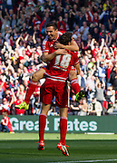 Middlesbrough FC striker David Nugent celbrates with Middlesbrough FC striker Christian Stuani after scoring the first goal during the Sky Bet Championship match between Middlesbrough and Leeds United at the Riverside Stadium, Middlesbrough, England on 27 September 2015. Photo by George Ledger.