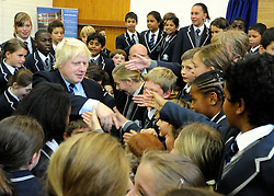 © licensed to London News Pictures. LONDON, UK.  09/09/11. Boris Johnson meets school children from WLFS. London Mayor Boris Johnson joins Chair of Governors Toby Young to officially open the The West London Free School (WLFS). The WLFS is an 11-18 secondary school, which has been set up by a group of parents and teachers in Hammersmith. The school is led by headmaster Thomas Packer . Mandatory Credit Stephen Simpson/LNP