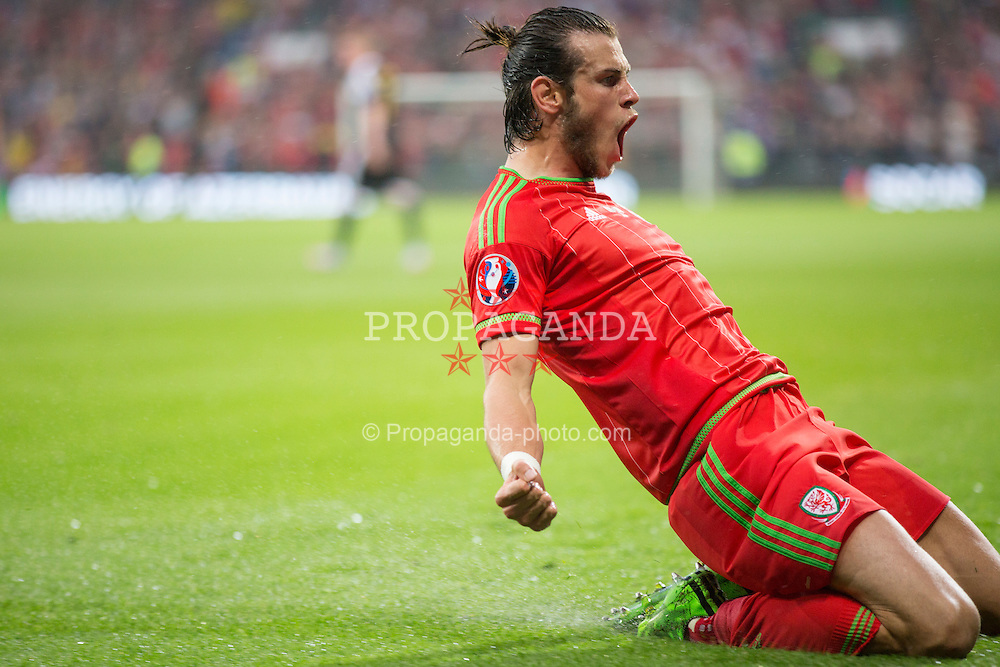 CARDIFF, WALES - Friday, June 12, 2015: Wales' xxxx in action against Belgium during the UEFA Euro 2016 Qualifying Round Group B match against Belgium at the Cardiff City Stadium. (Pic by Mark Hawkins/Propaganda)