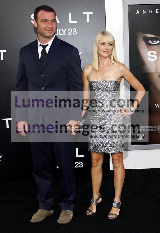 "Liev Schreiber and Naomi Watts at the Los Angeles premiere of 'Salt"" held at the Grauman's Chinese Theatre in Hollywood on July 19, 2010. Credit: Lumeimages.com"