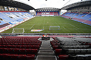 The DW stadium and new pitch before the Sky Bet League 1 match between Wigan Athletic and Oldham Athletic at the DW Stadium, Wigan, England on 13 February 2016. Photo by Mark Pollitt.