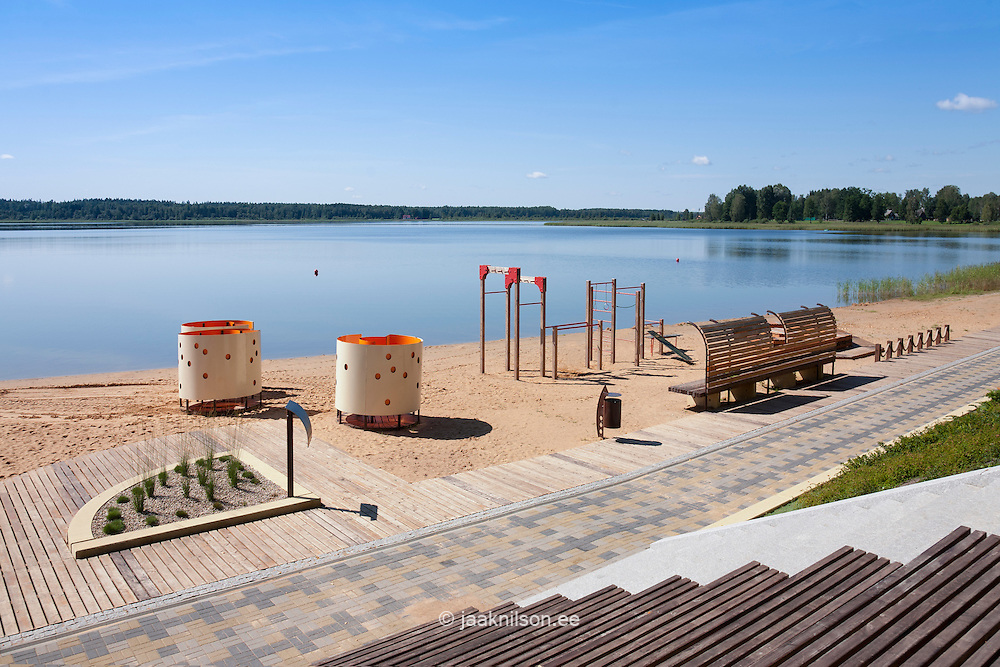 Beach area with dressing cabins, walkway and fitness equipment by Lake Tamula, Võru, Estonia