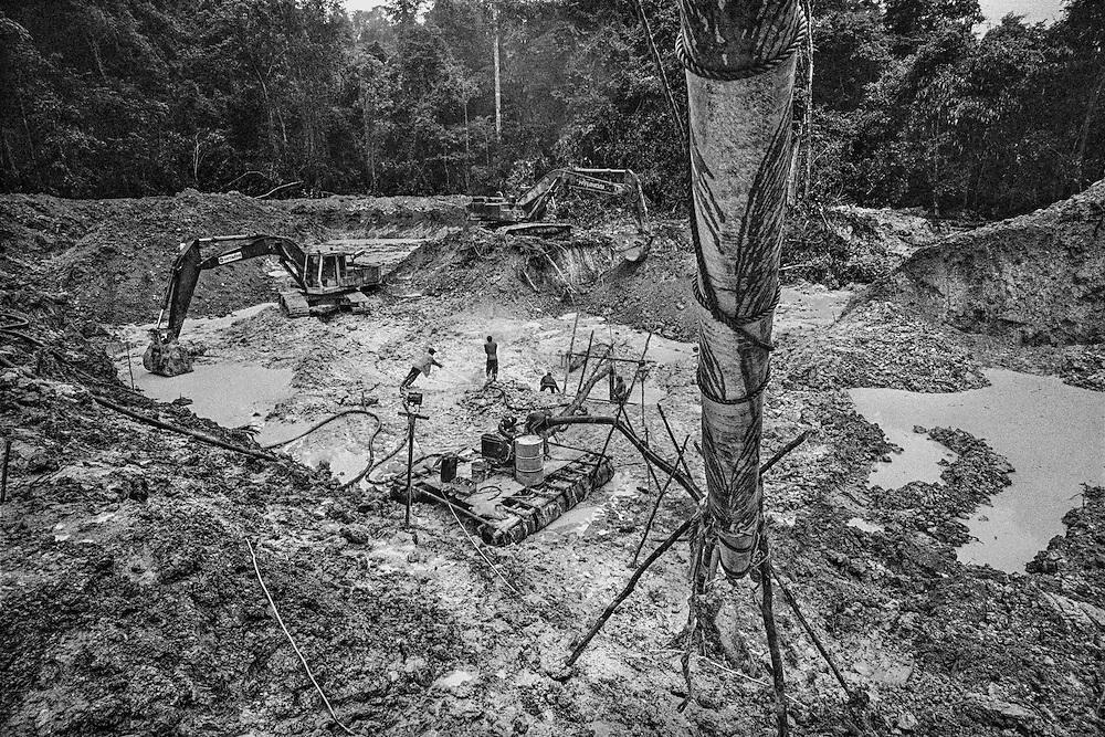French guiana, dorlin, inini.<br /> <br /> Exploitation aurifere. La terre est retournee et lavee a la recherche de paillettes qui seront amalgamees par addition de mercure.<br /> Christiane TAUBIRA, depute de Guyane, publie un rapport : &laquo; Si l'on prend en compte les couts environnementaux, sanitaires et sociaux engendres par cette activite, on peut s'interroger sur la valeur ajoutee creee par l'activite aurifere&hellip; La ou il n'y a pas moyen de faire autre chose, on ne va pas dire aux gens : crevez de faim ou allez emarger au RMI &raquo;. <br /> Les orpailleurs du Syndicat Minier de l&rsquo;Ouest Guyanais, soulignent pour leur part que l&rsquo;activite aurifere est le seul secteur productif capable d&rsquo;absorber une main d&rsquo;&oelig;uvre abondante et peu formee. Elle permet a la population locale de ne plus dependre du versement des diverses prestations sociales qui constituent l&rsquo;essentiel des revenus des familles. Les efforts entrepris par certains pour assainir et moderniser la profession se heurtent pourtant aux limites de la legalite.