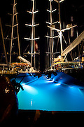 Ganesha and Mondango docked at night at the Yacht Club Cosat Smeralda, during the Dubois Cup regatta.